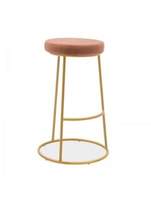 Бар стол Edem цвят пепл от рози със златиста матирана метална рамка