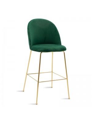 Бар стол Ruth плюшен тъмно зелен със златна рамка