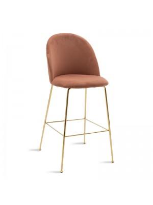 Бар стол Ruth плюшен цвят пепел от рози със златна рамка