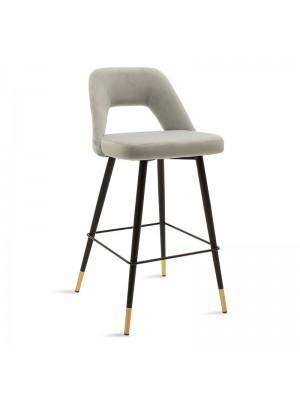 Бар стол Brianna сив плюшен с черни метални крака