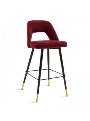 Бар стол Brianna тъмно червен плюшен с черни метални крака