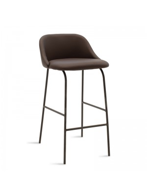 Бар стол Brianna кафяв плюшен с черни метални крака