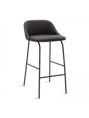 Бар стол Brianna черен кожен с черни метални крака