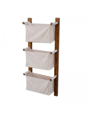 Стенен рафт Bao цвят бял/орех 35x12x95cm