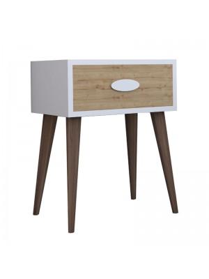 Нощно шкафче Labow с чекмедже цвят орех-бяло-сонома 45x30x57,5cm