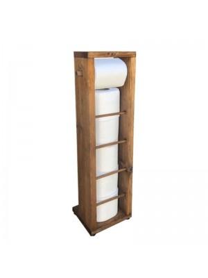 Дървена стойка за баня Laila цвят орех 15x15x65cm