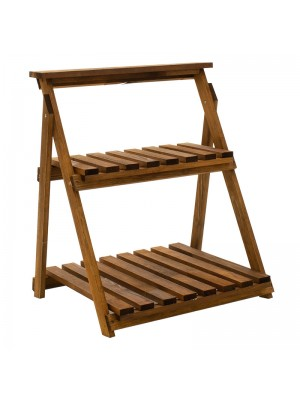 Дървен цветарник Fenno цвят орех 59x50x70cm