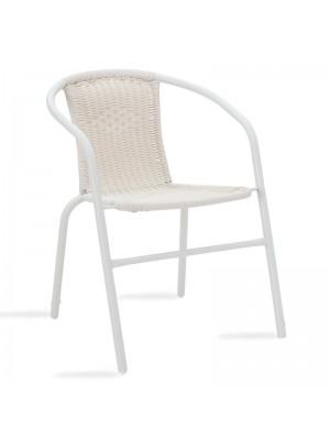 Градински стол Obbi метален в бял цвят