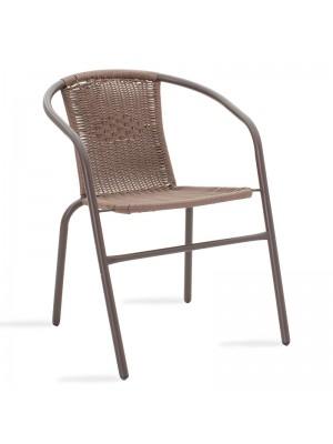 Метален градински стол Obbi в кафяв цвят