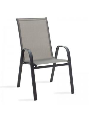 Градински стол Calan метал черен текстил в сив цвят