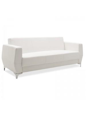 Триместен диван sofa Dermis бяла еко кожа с иноксови крака 188x75x75cm