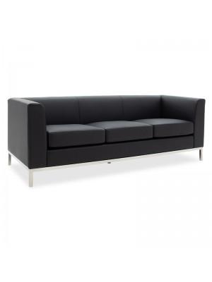 Триместен диван черна еко кожа и иноксови крака 192x75x67cm