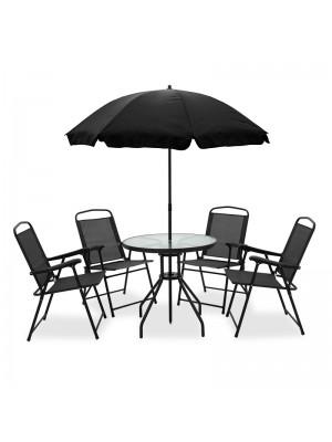 Градински сет Kamelia - маса, 4 стола и чадър