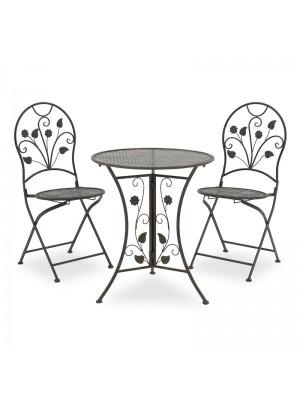 Градински сет цвят антрацит - маса с 2 стола