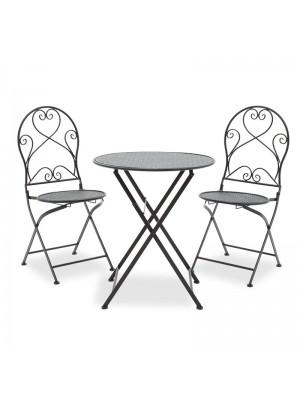 Градински сет черен метален  - маса с 2 стола
