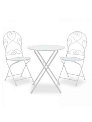 Градински сет бял метален - маса с 2 стола