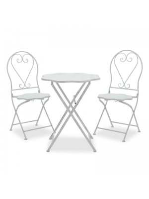 Градински сет маса с 2 стола бял метал
