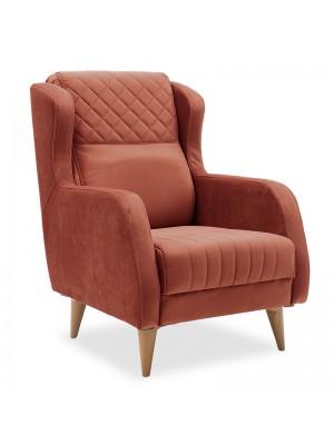 Кресло Naia с текстилна дамаска в керемиден цвят 70x89x99cm