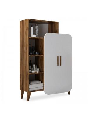 Шкаф Vasko с рафтове цвят бял/орех 90x32x132cm