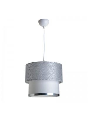 Полилей в сиво и бяло със сребърен кант D30x55cm