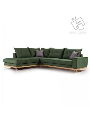Ъглов диван Luxury II с текстилна дамаска цвят кипарис 290x235x95cm