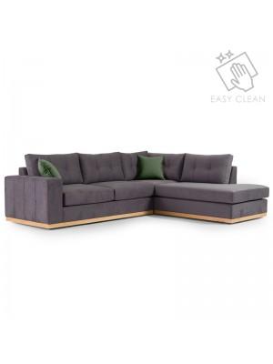 Ъглов диван Boston с текстилна дамаска цвят тъмно сив/тъмно зелен 280x225x90cm