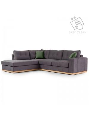 Ъглов диван Boston с текстилна дамаска цвят антрацит и зелено 280x225x90cm