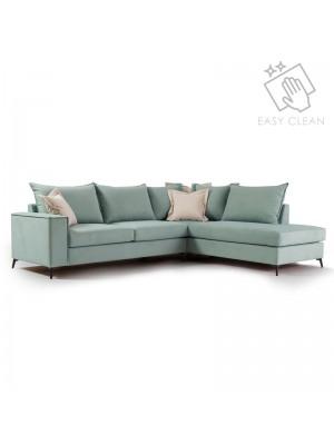 Ъглов диван Romantic със светло зелена текстилна дамаска 290x235x95cm