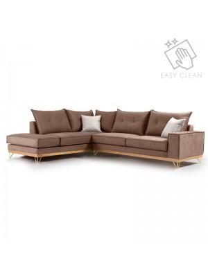 Ъглов диван Luxury II с текстилна дамаска цвят мока 290x235x95cm