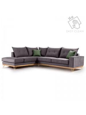 Ъглов диван Luxury II fabric с тъмносива текстилна дамаска 290x235x95cm
