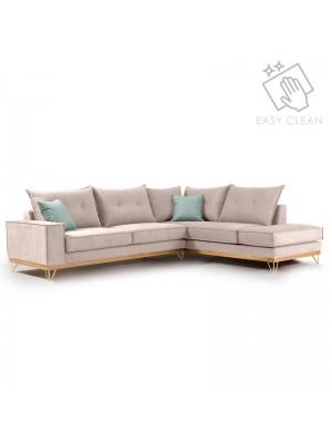 Ъглов диван Luxury II  текстилна дамаска  слонова кост 290x235x95cm