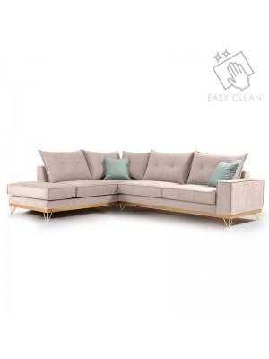Ъглов диван Luxury II със сива текстилна дамаска 290x235x95cm