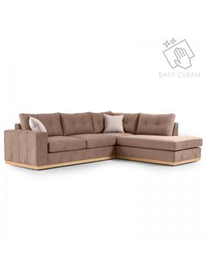 Ъглов диван Boston с текстилна дамаска цвят мока 280x225x90cm