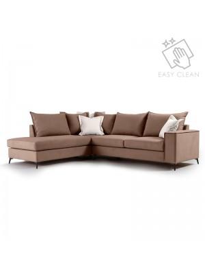 Ъглов диван Boston с текстилна дамаска цвят мока 290x235x95cm