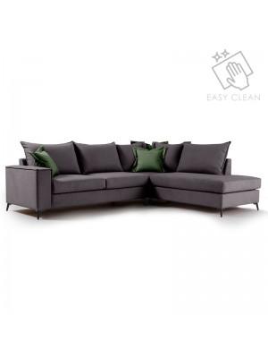 Ъглов диван Boston с тъмносива текстилна дамаска 290x235x95cm
