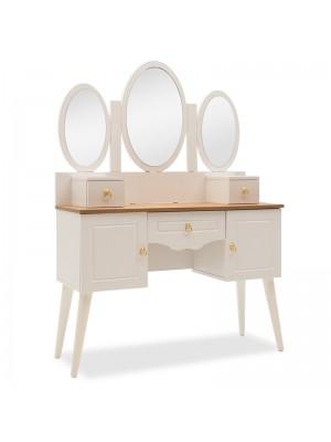 Тоалетка с тройно огледало цвят бял/дъб