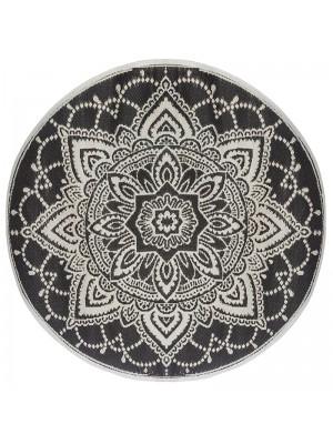 Кръгъл килим в черно и бяло D150x0,5cm