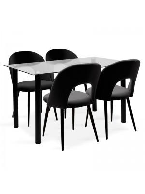 Комплект маса с 4 стола Hazel-Jonah 140x80x76cm