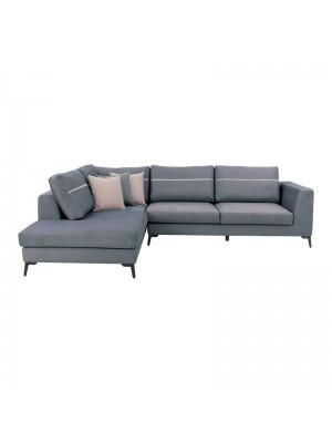 Ъглов диван New York със сива текстилна дамаска