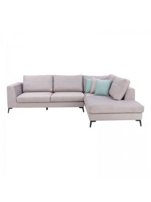 Ъглов диван New York със светло сива текстилна дамаска