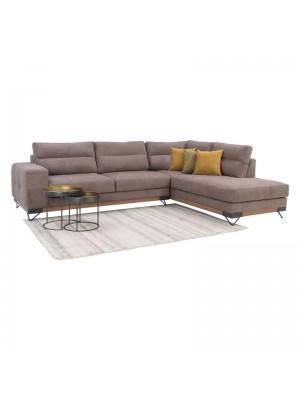 Ъглов диван Monaco с текстилна дамаска цвят кафе