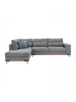 Ъглов диван Monaco със сива текстилна дамаска