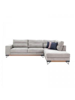 Ъглов диван Monaco със светло сива текстилна дамаска