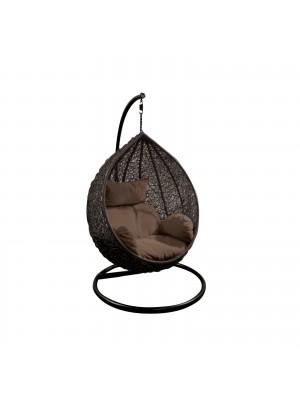Стол люлка ISABEL тъмно сив с кафява възглавница Ε6737,31