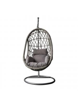 Стол люлка MACAN сив с възглавница цвят капучино Ε6766,2