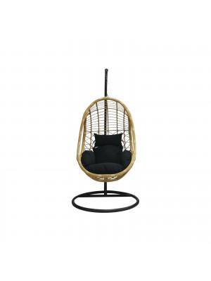 Стол люлка SALSA черен с черна възглавница Ε6768,1