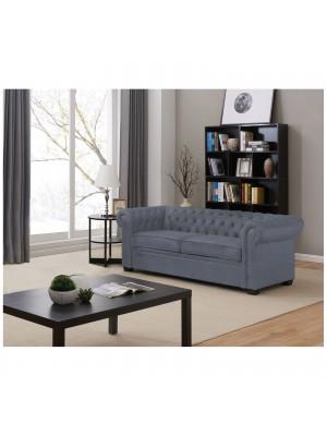 Триместен разтегателен диван CHESTERFIELD тъмно сив текстил Ε9648,1
