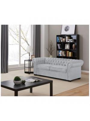 Триместен разтегателен диван CHESTERFIELD светло сив текстил Ε9648,2