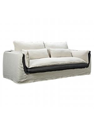 Триместен диван SMOOTH текстилен цвят екрю/сиво Ε9649