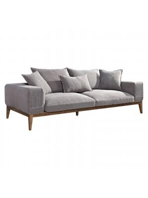 Триместен диван TEMPO сив текстил Ε9654